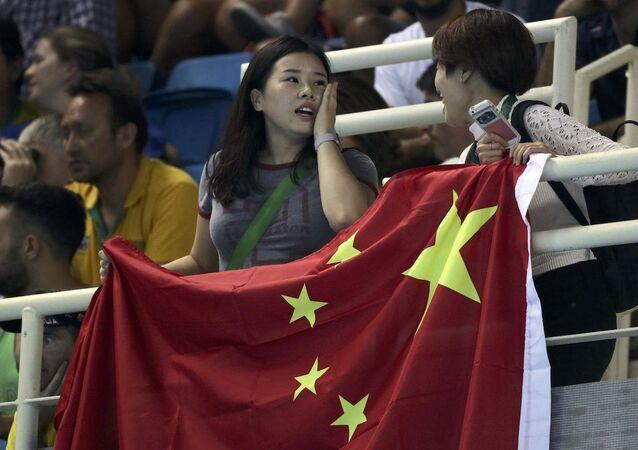 Olimpiyat Oyunları'nı izleyen Çinli taraftarlar