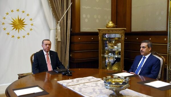 Cumhurbaşkanı Recep Tayyip Erdoğan - MİT Müsteşarı Hakan Fidan - Sputnik Türkiye