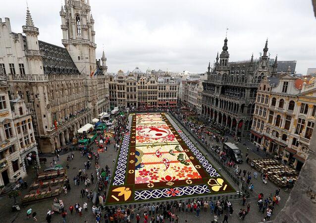 Brüksel'de Japonya çiçek halısı