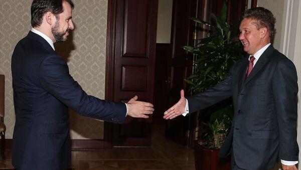 Enerji ve Tabii Kaynaklar Bakanı Berat Albayrak ve Rus enerji şirketi Gazprom'un Üst Yöneticisi (CEO) Aleksey Miller - Sputnik Türkiye