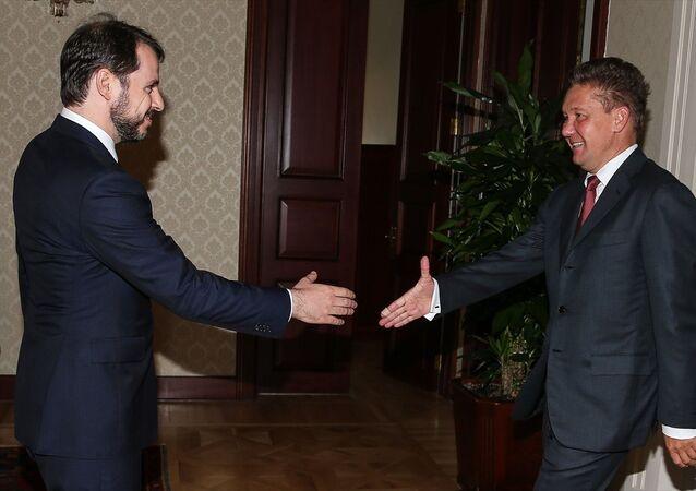 Enerji ve Tabii Kaynaklar Bakanı Berat Albayrak ve Rus enerji şirketi Gazprom'un Üst Yöneticisi (CEO) Aleksey Miller
