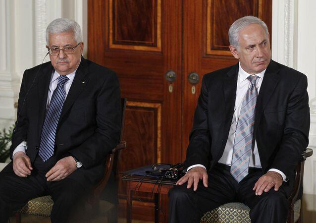Filistin Devlet Başkanı Mahmud Abbas ve İsrail Başbakanı Binyamin Netanyahu
