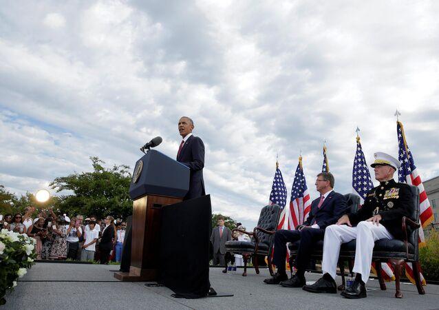 ABD Başkanı Barack Obama, Pentagon'daki 11 Eylül törenlerinde.