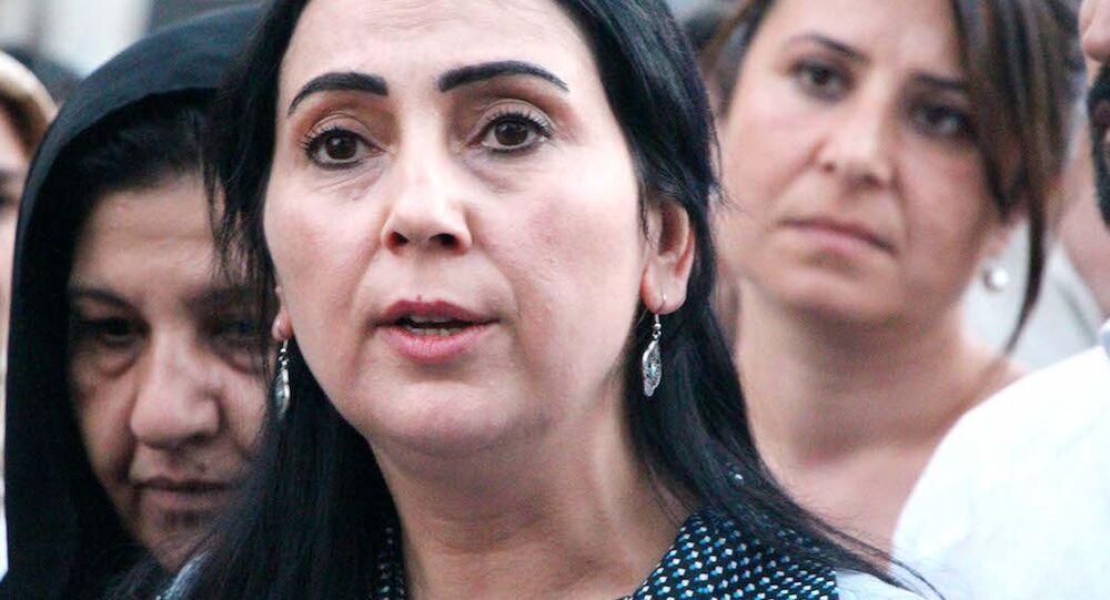 HDP Eş Genel Başkanı Figen Yüksekdağ Suruç'ta.