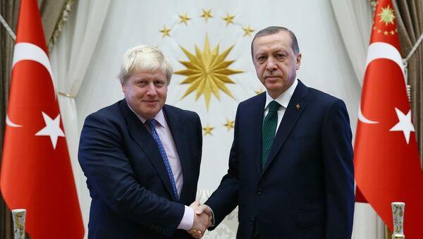 Cumhurbaşkanı Recep Tayyip Erdoğan (sağda), İngiltere Dışişleri Bakanı Boris Johnson'ı (solda) kabul etti. - Sputnik Türkiye