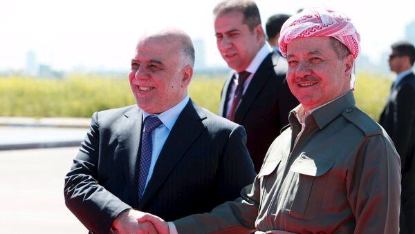 Irak Kürt Bölgesel Yönetimi Başkanı Mesud Barzani - Irak Başbakanı Haydar el İbadi - Sputnik Türkiye