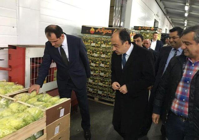 Gıda, Tarım ve Hayvancılık Bakanlığı Müsteşarı Dr. Nusret Yazıcı ve Türkiye'nin Moskova Büyükelçisi Ümit Yardım, Moskova'nın en büyük meyve ve sebze halı Food City'yi ziyaret etti.