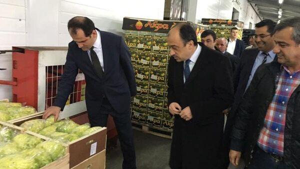 Gıda, Tarım ve Hayvancılık Bakanlığı Müsteşarı Dr. Nusret Yazıcı ve Türkiye'nin Moskova Büyükelçisi Ümit Yardım, Moskova'nın en büyük meyve ve sebze halı Food City'yi ziyaret etti. - Sputnik Türkiye