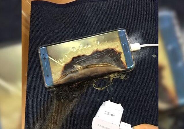 Patlayan bir Samsung Galaxy Note 7