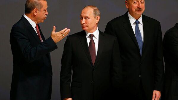 Recep Tayyip Erdoğan - Vladimir Putin - İlham Aliyev - Sputnik Türkiye