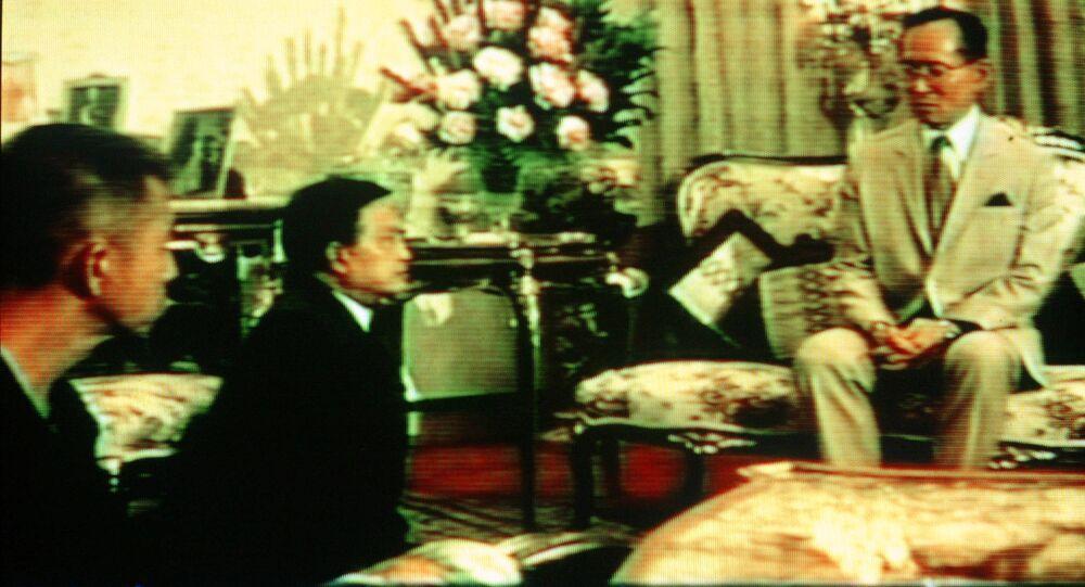 Tayland Kralı Bhumibol Adulyadej'in 1992 yılında kaydedilen bir görüntüsü