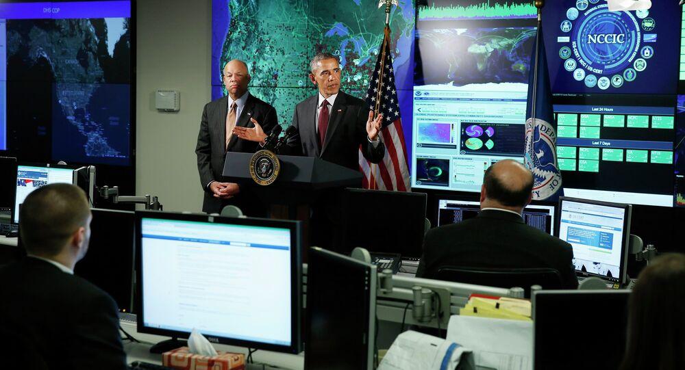 ABD Başkanı Barack Obama, Ulusal Siber Güvenlik ve İletişim Entegrasyon Merkezi'nde