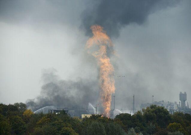 Almanya'da kimyasal fabrika yangını