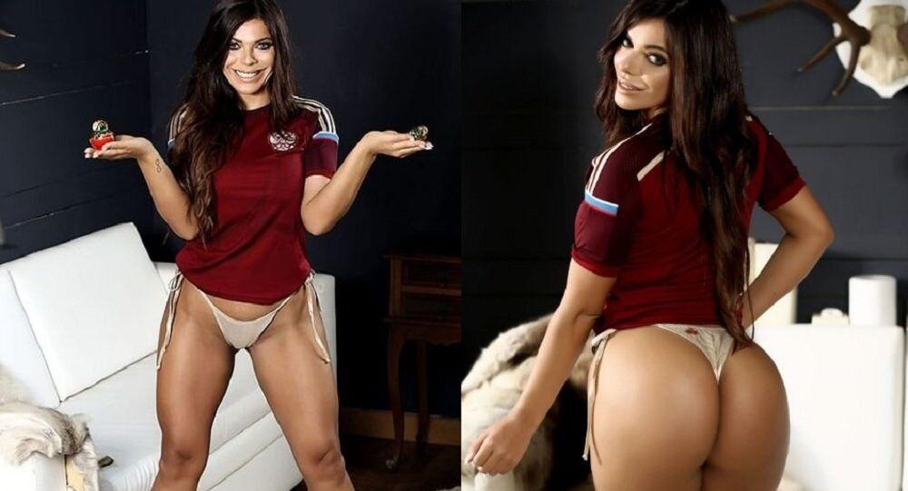 Rusya'nın ev sahipliğini yapacağı FIFA 2018 Dünya Kupası'nın maskotu olarak seçilen Zabivaka isimli kurt ile fotoğraf çekimine katılan eski Playboy kapak kızı, Brezilyalı güzel Suzy Cortez