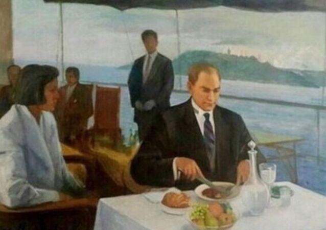 Yaşar Çallı tarafından yapılan Atatürk tablosu