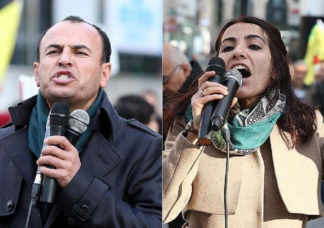 Aranan HDP'li vekiller Tuğba Hezer Öztürk ve Faysal Sarıyıldız Brüksel'deki protesto gosterisinde görüntülendi