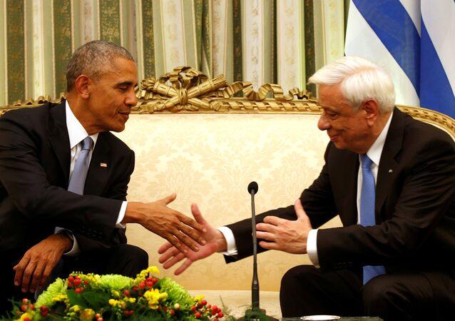 ABD Başkanı Barack Obama ve Yunanistan Cumhurbaşkanı Prokopis Pavlopulos