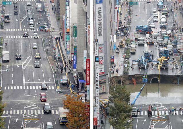 Japonya'nın Fukuoka kentindeki yolda oluşan çukur sadece 7 günde kapatıldı.