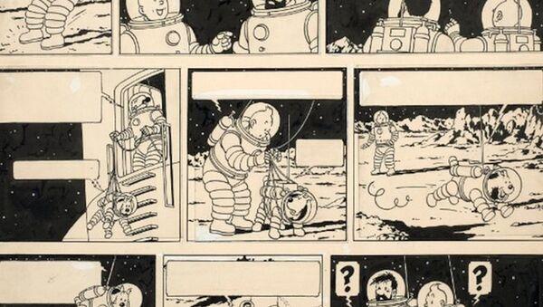 Dünyaca ünlü çizgi roman karakteri Tenten'in 'Ay'daki Kaşifler' isimli macerasına ait çizim - Sputnik Türkiye