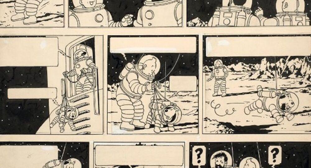 Dünyaca ünlü çizgi roman karakteri Tenten'in 'Ay'daki Kaşifler' isimli macerasına ait çizim