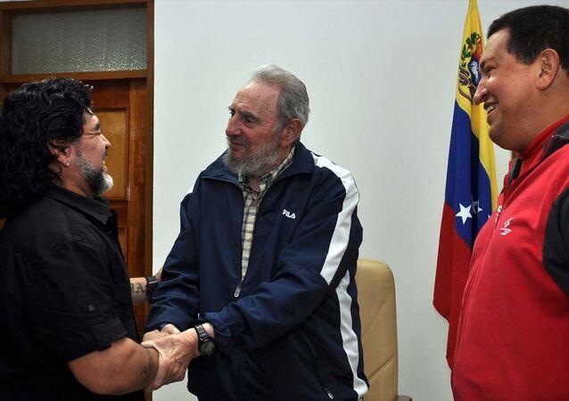 Castro, Hugo Chavez ve Diego Maradona