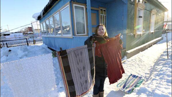 Ruslardan -30 derece havada çamaşır kurutma sanatı - Sputnik Türkiye