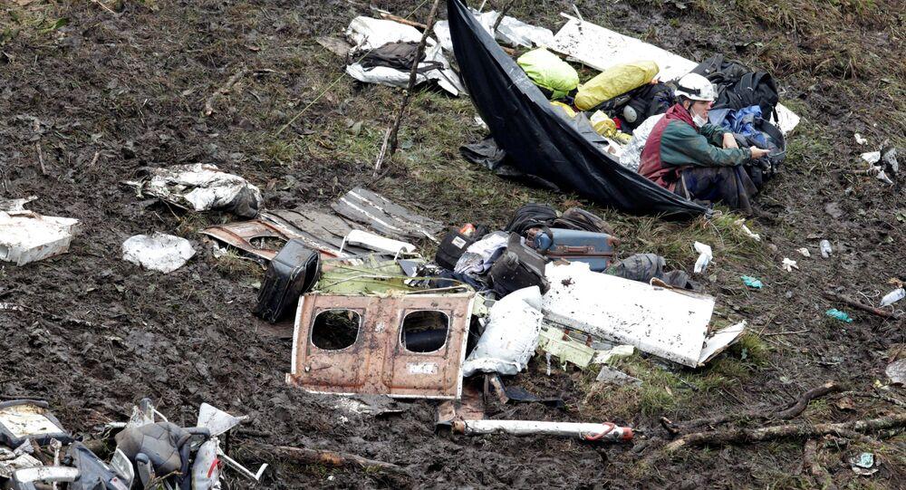 Kolombiya'da düşen uçağın enkazı