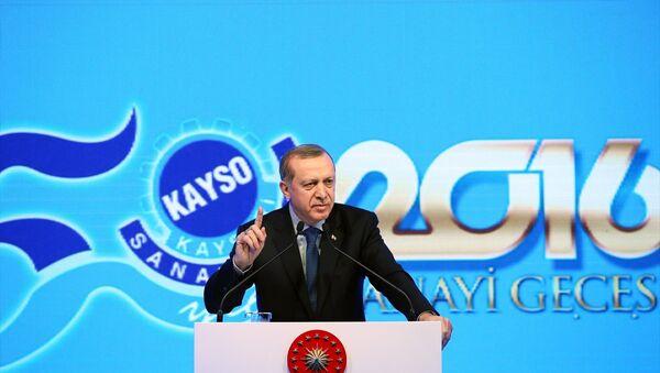 Cumhurbaşkanı Recep Tayyip Erdoğan, Kayseri Sanayi Odası'nın Ödül Töreni'nde bir kez daha kürsüye çıktı - Sputnik Türkiye