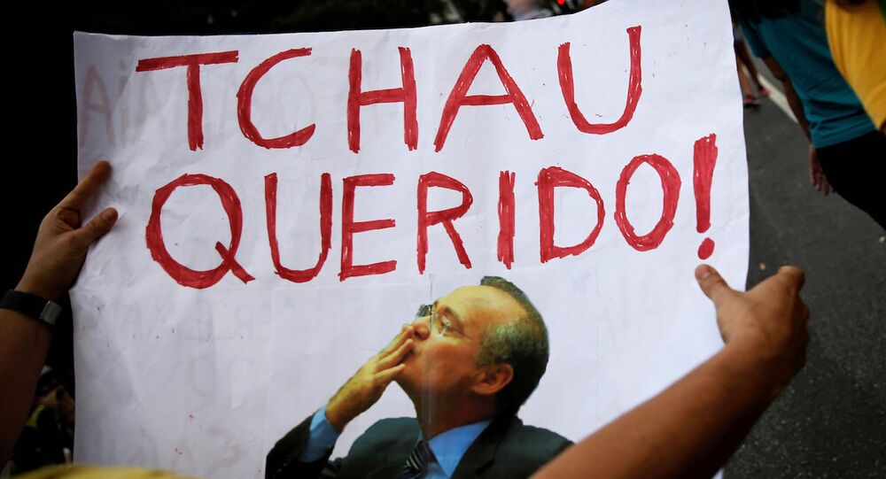 Brezilya'daki eylemlerde Senato Başkanı Renan Calherios'un fotoğrafının yer aldığı bir döviz: Hoşçakal sevgilim!