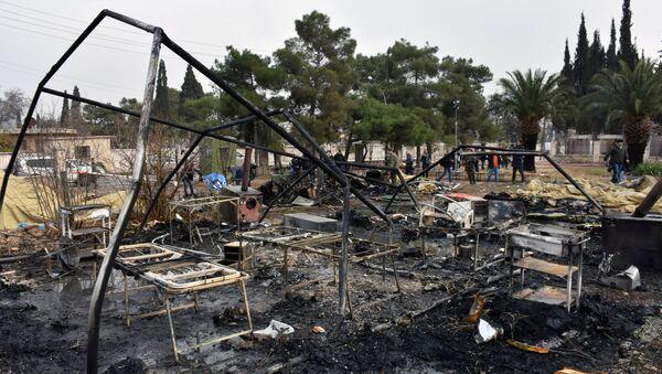 Halep'te saldırıya uğrayan seyyar Rus hastanesi - Sputnik Türkiye