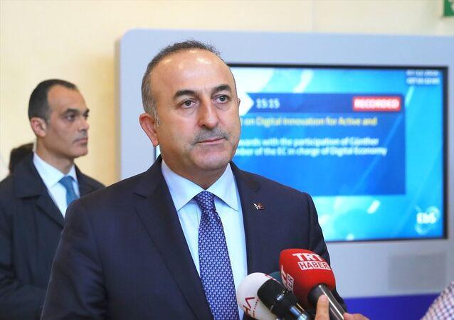 Mevlüt Çavuşoğlu, Brüksel'de basın mensuplarına açıklamada bulundu