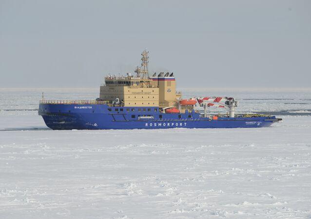 Rusya Federal Deniz ve Nehir Ulaşımı Ajansı'nın talimatıyla Vıyborg Tersanesi'nde yapılan dünyanın en güçlü buzkıran gemisi Vladivostok, direğindeki Rus bayrağı ile bu yıl şubat ayından beri Baltık Denizi ve Arktik Bölgesi'nde faaliyet gösteriyor.