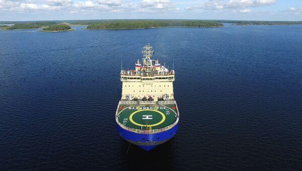 Vıyborg Tersanesi'nde yapılan dünyanın en güçlü buzkıran gemisi Vladivostok - Sputnik Türkiye