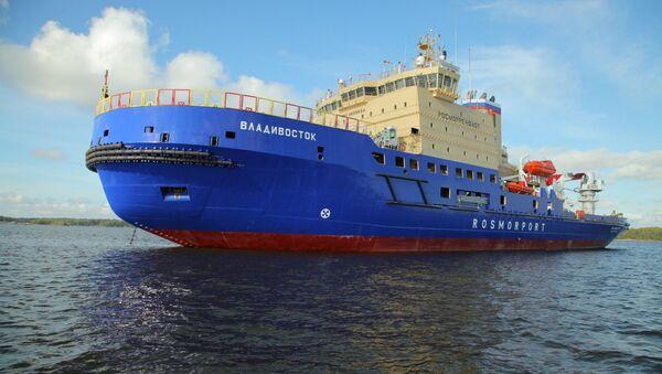 Rusya Federal Deniz ve Nehir Ulaşımı Ajansı'nın talimatıyla Vıyborg Tersanesi'nde yapılan dünyanın en güçlü buzkıran gemisi Vladivostok - Sputnik Türkiye