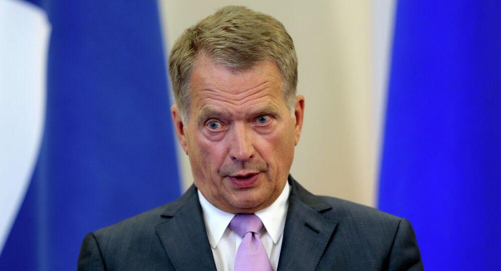 Finnish President Sauli Niinisto speaks during his and Russian President Vladimir Putin's news conference