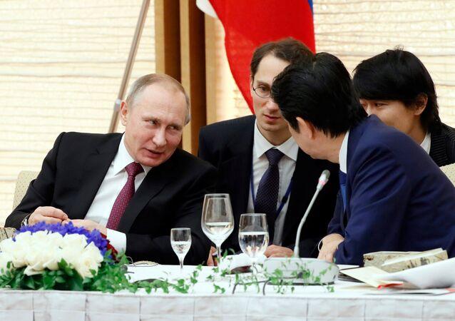 Rusya Dvelet Başkanı Vladimir Putin ve Japonya Başbakanı Şinzo Abe