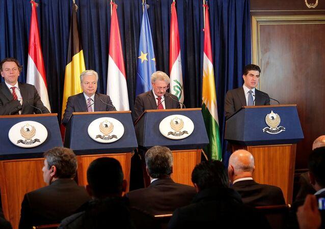 Neçirvan Barzani ve 3 AB ülkesinin dışişleri bakanları ortak basın toplantısında