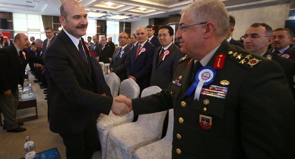 İçişleri Bakanı Süleyman Soylu, Vilayetler Evi'nde düzenlenen 102. Dönem Kaymakamlık Kursu Kura Töreni'ne katıldı.