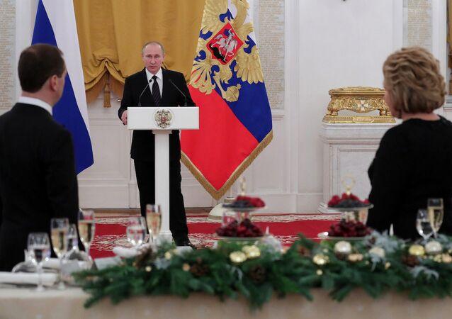 Rusya Devlet Başkanı Vladimir Putin, Kremlin'de düzenlenen geleneksel yılbaşı davetinde konuştu.