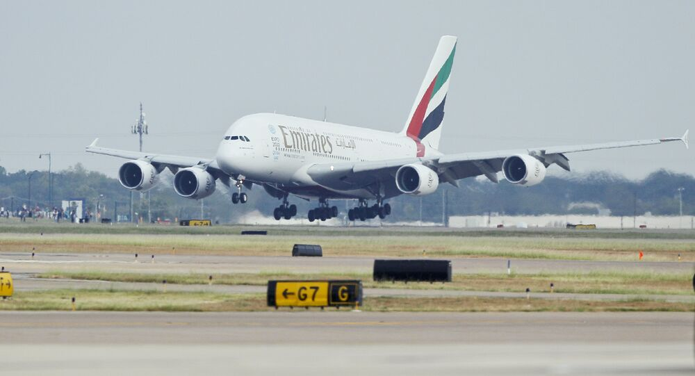 Emirates' inaugural A380 flight to Dallas Fort/Worth International Airport touches down at Dallas-Fort Worth International Airport in Texas. (File)