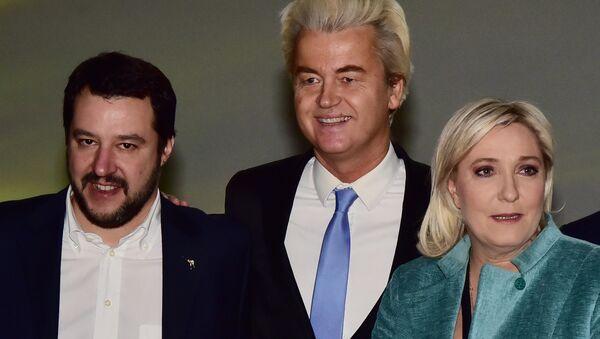 Matteo Salvini - Geert Wilders - Marine Le Pen - Sputnik Türkiye