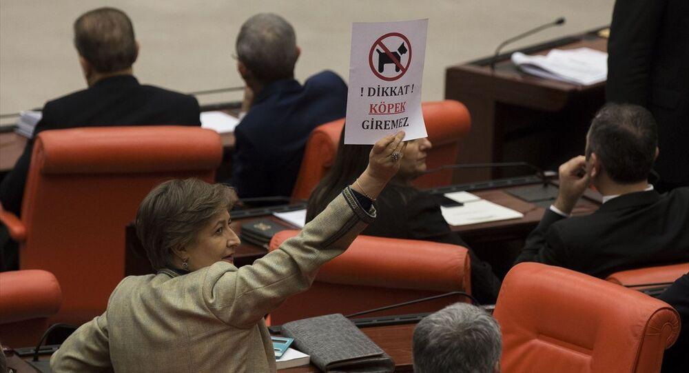 AK Parti İstanbul Milletvekili Mihrimah Belma Satır, üzerinde 'Dikkat, köpek giremez' yazılı afiş gösterdi