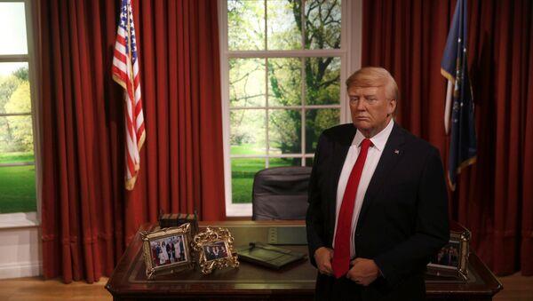 ABD'nin yeni Başkanı Donald Trump, 20 Ocak'taki göreve başlama töreninden önce Beyaz Saray'daki Oval Ofis'te boy gösterdi. Ünlü balmumu heykel müzesi Madame Tussauds'nun Londra ve Washington şubeleri için, Trump'ın Oval Ofis'te olduğu bir balmumu heykel yapıldı. - Sputnik Türkiye