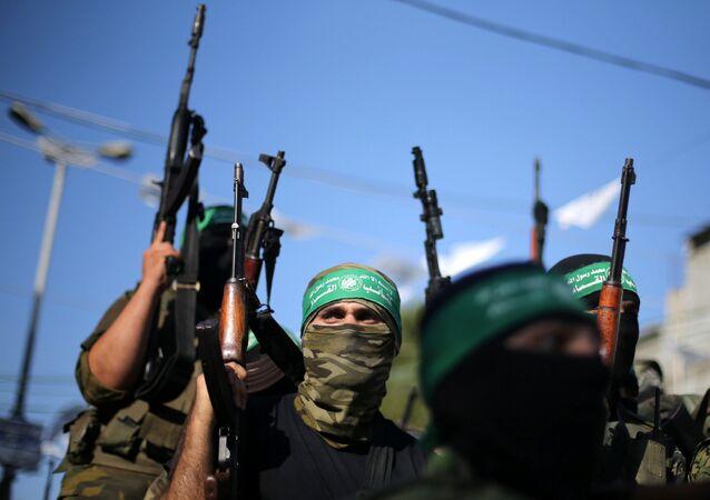 Hamas'ın askeri kanadı İzzeddin el Kassam Tugayları üyeleri