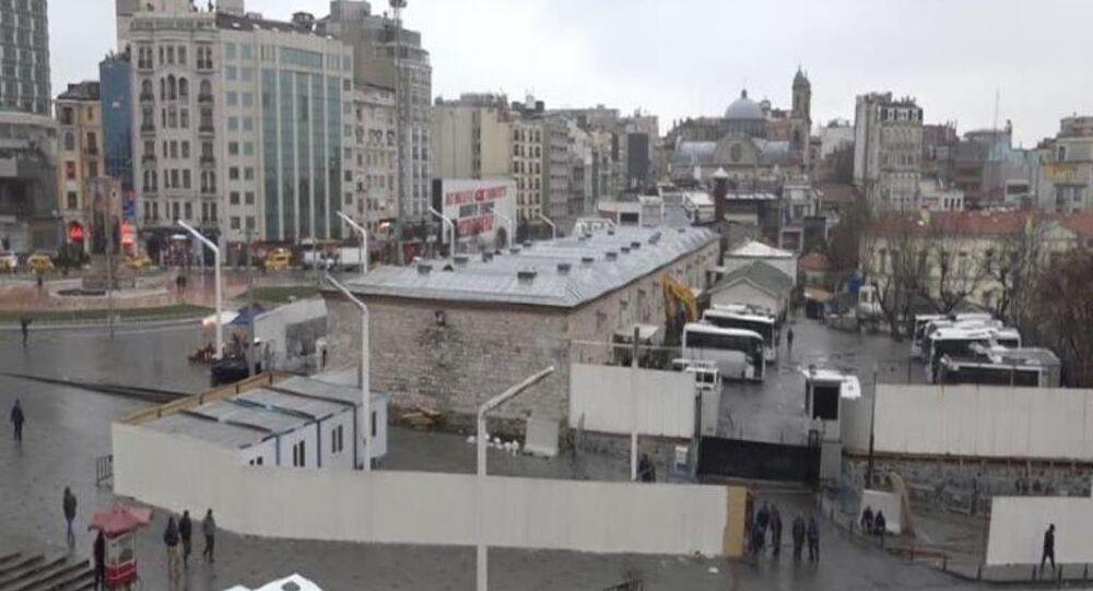 Taksim'deki cami alanında şantiye hazırlıklarına başlandı