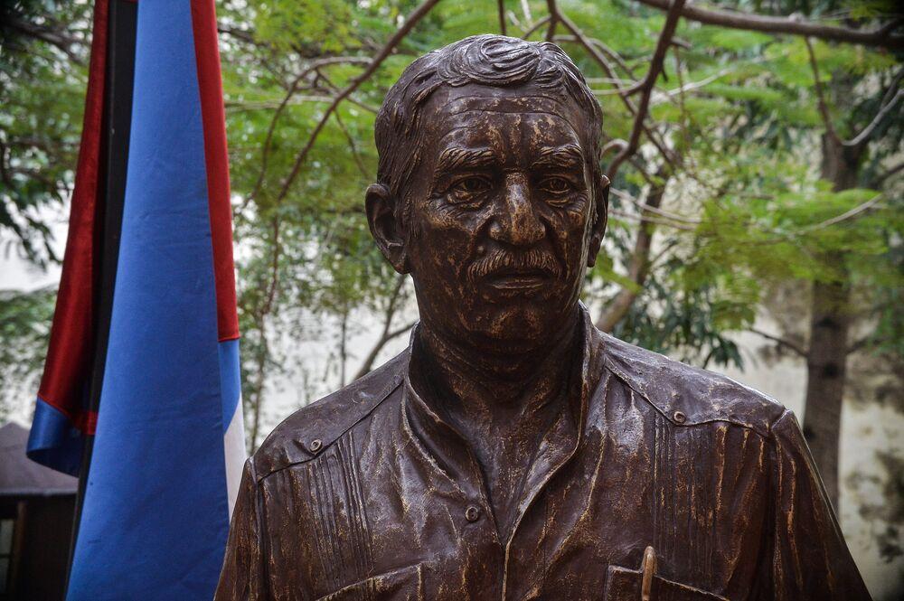 Kübalı heykeltraş Jose Villa Soberon tarafından yapılan heykel 1.80 metre yüksekliğinde. Heykel Marquez'in ölçülerine sadık kalınarak 'gerçek boyutlu' olarak yapıldı.