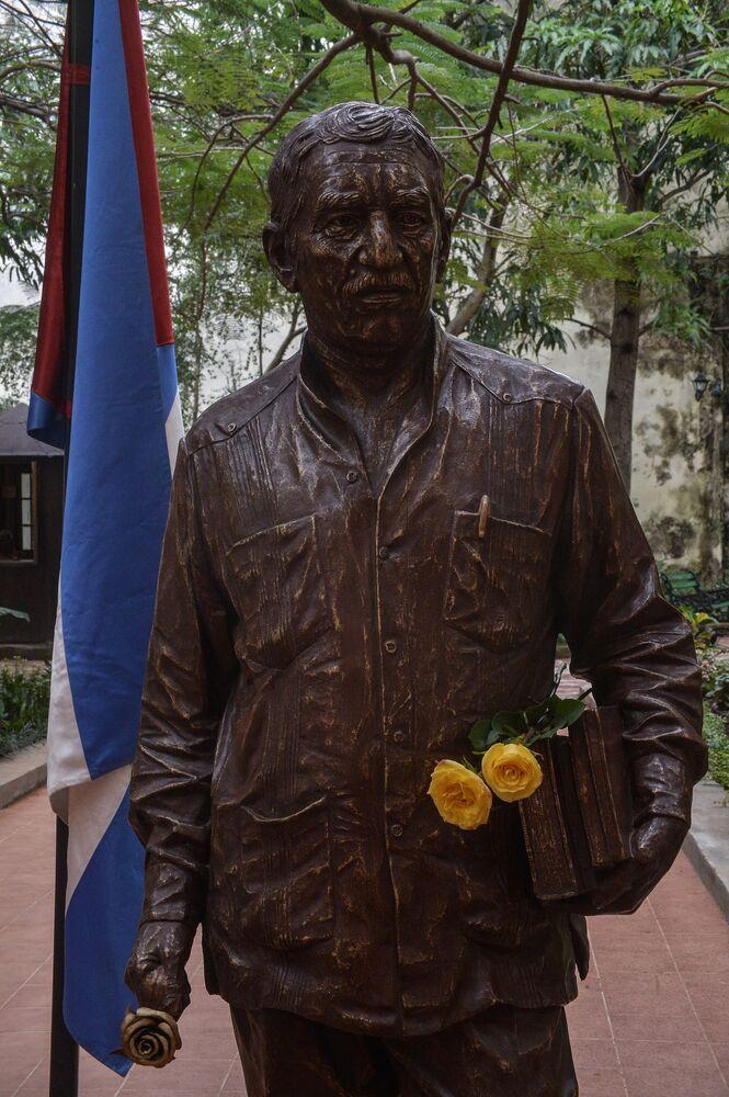 Heykel, hem yazara hem de Küba'nın arabuluculuğunda Kolombiya hükümeti ile FARC (Kolombiya Devrimci Silahlı Güçleri) gerillaları arasında yapılan barış anlaşmasına saygı duruşu niteliği taşıyor.