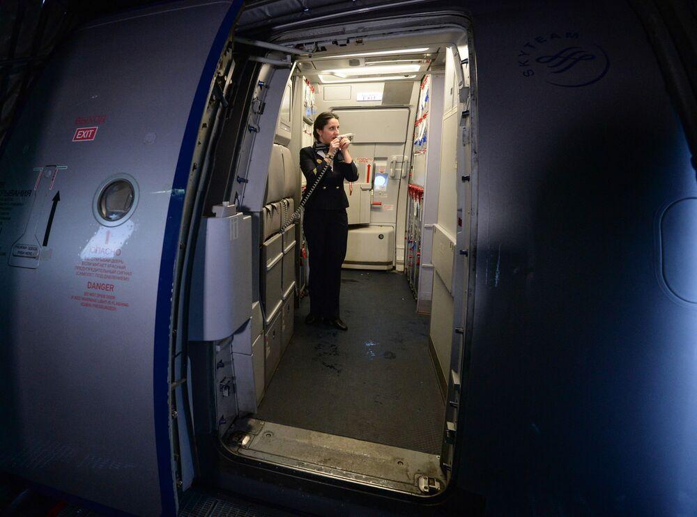 Aeroflot A-321 uçağı, Novosibirks'teki Tolmaçevo Havalimanı'nda uçuş hazırlığında.