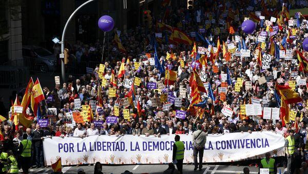 Barselona'da Katalonya'daki bağımsızlık girişimine karşı yürüyüş - Sputnik Türkiye