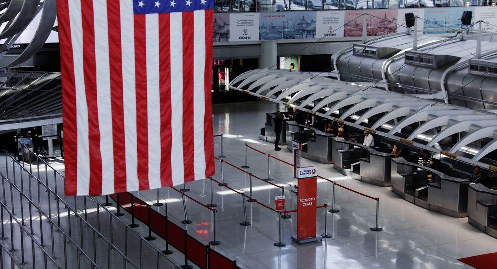 New York'taki JFK Uluslararası Havalimanı'ndaki Türk Hava Yolları (THY) kontuarı